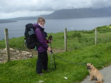 Day 1 starting walk from Elgol to Camasunary – me, backpack & Cuillin who is having a little sit down!
