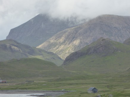 Camasunary bay with the Cuillin hills behind & bothy in foreground.